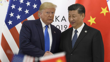 US President Donald Trump with China's President Xi Jinping in 2019.