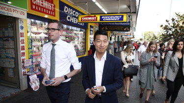 NSW Treasurer Dominic Perrottet with the NSW candidate for Kogarah Scott Yung during a visit to Hurstville.