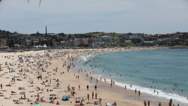 Beachgoers flocked to Bondi on Saturday at the start of an extremely hot weekend in Sydney.
