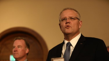 Prime Minister Scott Morrison in Launceston on Tuesday.