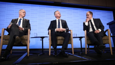 News Corp Australasia executive chairman Michael Miller, Nine chief executive Hugh Marks and ABC managing director David Anderson on Wednesday.