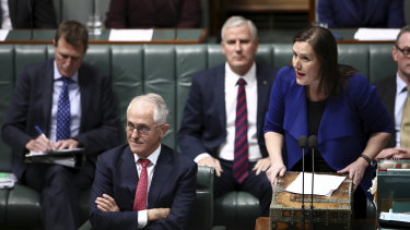 Prime Minister Malcolm Turnbull and Minister for Financial Services and Revenue, Kelly O'Dwyer.