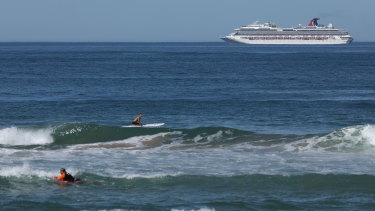 One of the cruise ships stuck off the NSW South Coast near Wollongong.