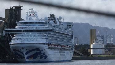 The Ruby Princess cruise ship docked at Port Kembla.