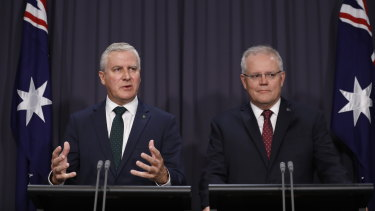 Prime Minister Scott Morrison and Deputy Prime Minister Michael McCormack speak to the media about a ministerial reshuffle at Parliament House on February 6.