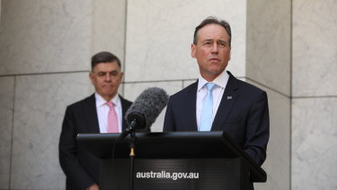 Health Minister Greg Hunt said the government had taken advice from an expert panel led by Health Department Secretary Professor Brendan Murphy (left) in acquiring the new doses.