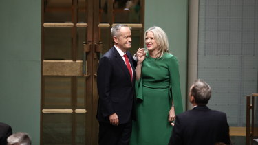 Chloe Shorten has built her style signature around structured dresses in bold colours.