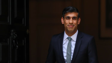 Chancellor Rishi Sunak leaves Number 11 Downing Street ahead of his statement to Parliament.