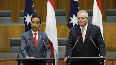 President of Indonesia Joko Widodo and Prime Minister Scott Morrison address the media at Parliament House.