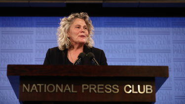 National Farmers Federation president Fiona Simson speaking to the National Press Club in Canberra on Tuesday.