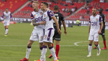 Former Wanderers loanee Chris Ikonomidis keeps his celebration subdued after scoring the opener for Perth.