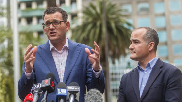 Premier Daniel Andrews and his deputy, James Merlino, the day after being re-elected.