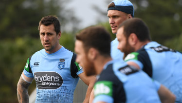 Redemption story: Pearce with the Blues during a training session at Coogee Oval on Monday.