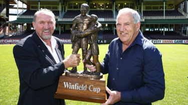 Ray Price and Mick Cronin at the SCG in 2016, celebrating the 30th anniversary of their 1986 premiership.
