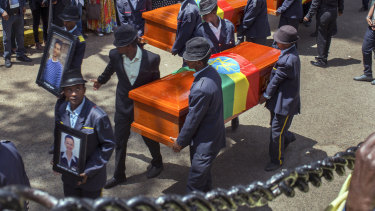 A mass funeral procession for some of the crash victims outside the Holy Trinity Cathedral in Addis Ababa on Sunday.