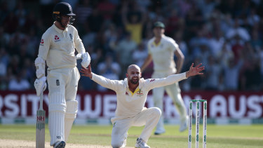 Nathan Lyon appeals after Ben Stokes is hit on the pads with England one run behind Australia.