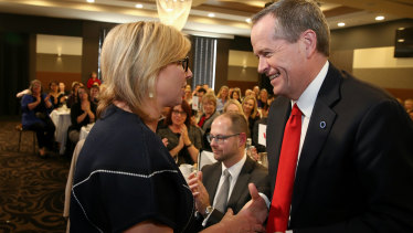 Bill Shorten with Rosie Batty in Canberra in 2015.