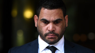 Testing time: Greg Inglis leaves the Downing Centre Local Court on January 14.