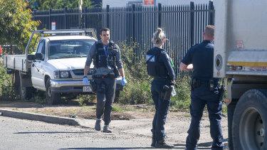 Police at the scene on Rebecca Drive, Ravenhall.
