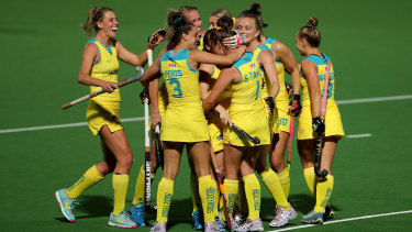 The Hockeyroos celebrate a Sophie Taylor goal en route to the win that qualified them for the Olympics.