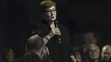Marise Payne, Australia's Foreign Minister, at the Media Freedom conference.