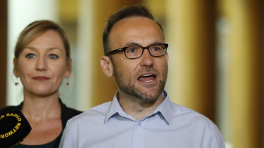 The new leader of the Greens, Adam Bandt, with co-deputy leader Larissa Waters.