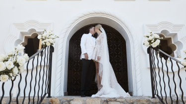 Karl Stefanovic and Jasmine Yarbrough at their wedding ceremony in Mexico.