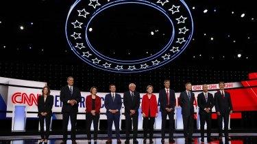 Democrat presidential hopefuls line up for Tuesday's debate in Detroit.