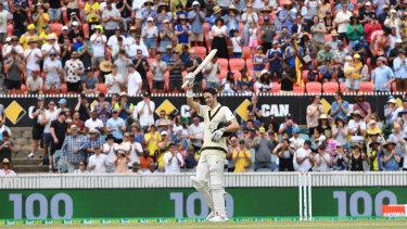 Warm reception: Kurtis Patterson celebrates his maiden Test century in his second Test match.