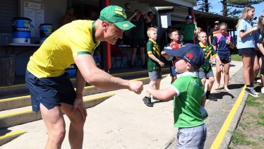 Jack Wighton was a popular choice when the Kangaroos met with fans following training on Monday.