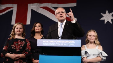 Scott Morrison claims victory in Saturday's election.