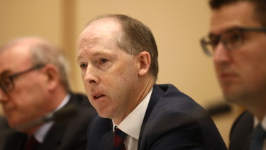 Australian Building and Construction Commission boss Stephen McBurney at a Senate hearing in 2018.
