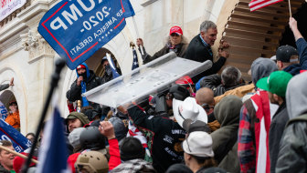 Demonstrators try to enter the US Capitol building on January 6.