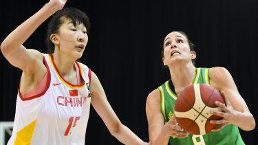 Key figure: Rebecca Allen of the Opals lines up a shot against China during a FIBA Asia Cup warm-up match in Canberra.