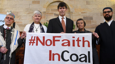 """No faith in coal"" ... a multi-faith plea this year involved representatives of 150 religious leaders calling on Prime Minister Scott Morrison to recognise Australia's moral responsibility to avoid a climate catastrophe."