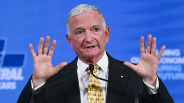 Nick Greiner speaks at the Liberal Party's federal council at the Hyatt Hotel in Canberra on Friday.