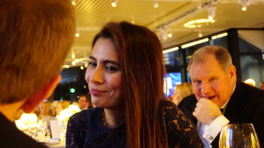 Kharla Williams at the Melbourne Health dinner in June 2016. Robert Doyle, right, was seated next to her.