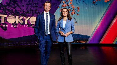 Seven's Hamish McLachlan and Abbey Gelmi in a promotional shot for the upcoming Tokyo Olympics.