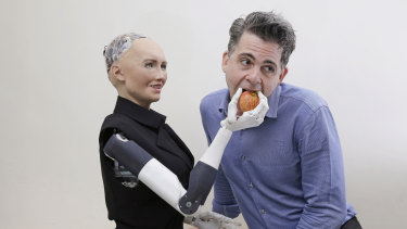 Sophia, a lifelike robot at the forefront of artificial intelligence, with her creator David Hanson.