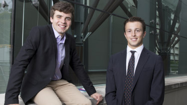 Jack Zimmerman (left) said being accepted into a combined arts and law degree at the University of Sydney on Thursday morning was a huge surprise.
