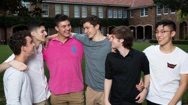 Nick Testa, Alexander Maloof, Marcus Buvac, Nicholas Pavic, Steven Serb and Calvin Li of Trinity Grammar School celebrate their outstanding results in the International Baccalaureate.