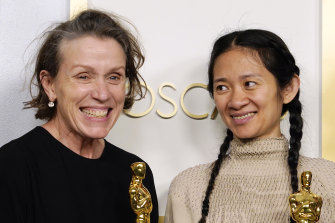 Frances McDormand and Chloe Zhao, winners of Best Picture for Nomadland at the Oscars on Sunday at Union Station in Los Angeles.