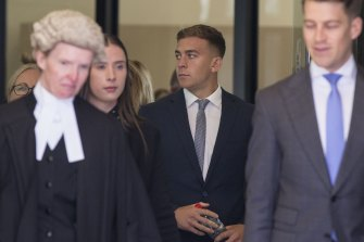 """Sinclair with his barrister Sharyn Hall (left), who asked Kate if there had been a """"struggle"""" during the alleged assault."""
