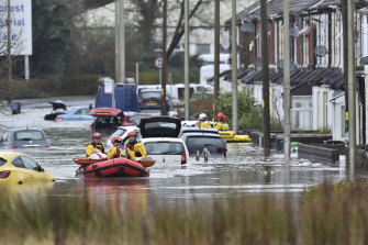 Flood evacuations in Nantgarw, Wales on Sunday.