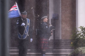 A lone piper played as Leading Senior Constable Taylor's coffin was taken from the chapel.