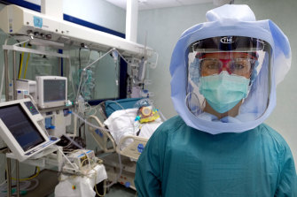 A nurse in the intensive care unit at the Policlinic of Tor Vergata in Rome.