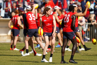 Ben Brown and the Demons train in Perth on Friday.