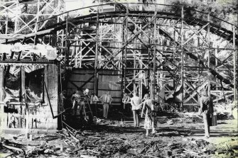 The remains of the Ghost Train ride at Luna Park after the fatal fire on June 9, 1979.