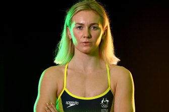 Freestyle star Ariarne Titmus in her official Dolphins togs for Tokyo.