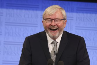 Former prime minister Kevin Rudd has taken a cautious approach, with one of his registrations catching up Malcolm Turnbull and Gareth Evans.